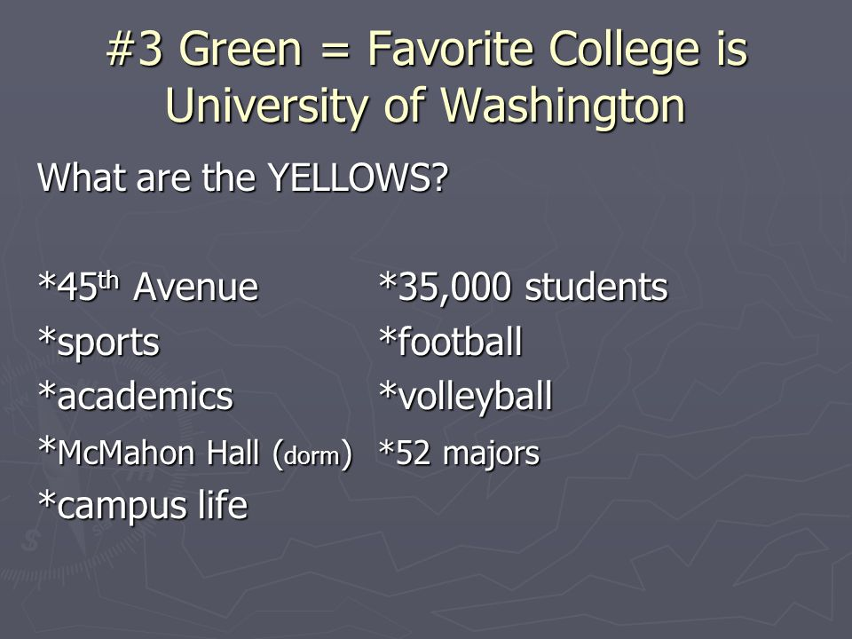 #3 Green = Favorite College is University of Washington What are the YELLOWS? *45 th Avenue*35,000 students *sports*football *academics*volleyball * M