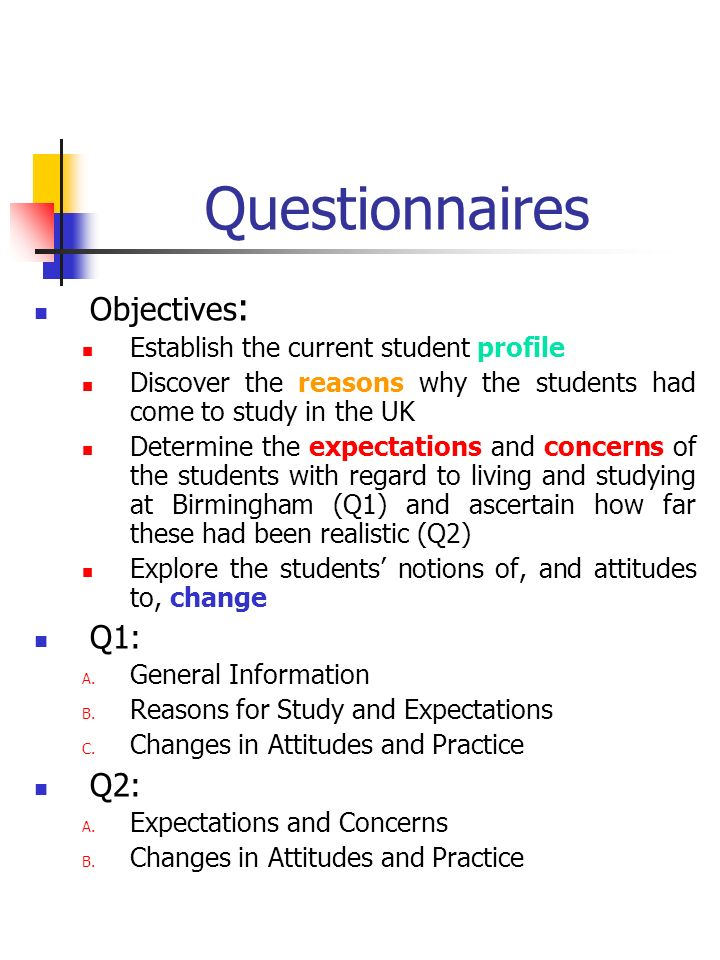 Questionnaires Objectives : Establish the current student profile Discover the reasons why the students had come to study in the UK Determine the expectations and concerns of the students with regard to living and studying at Birmingham (Q1) and ascertain how far these had been realistic (Q2) Explore the students notions of, and attitudes to, change Q1: A.
