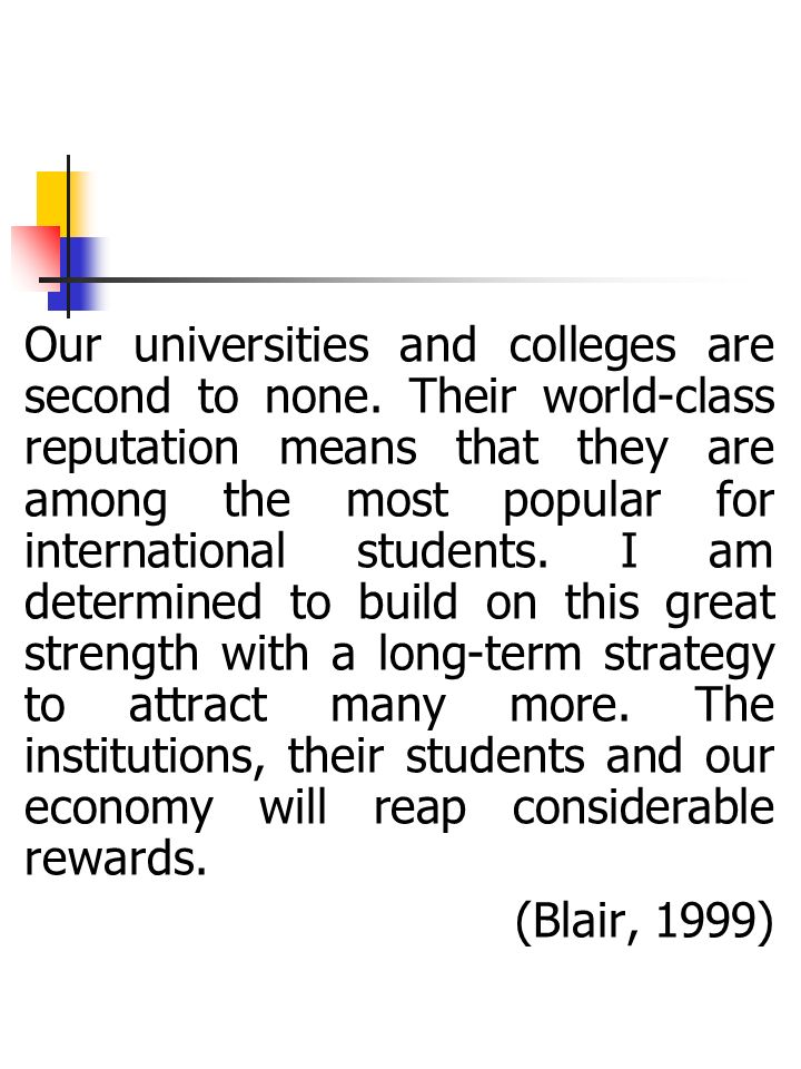 English for International Students Unit [EISU] University of Birmingham 1958-40 students 1974-169 2003-4,200 2008 - 5,125 EISU 1964: included a four-day induction course; two-week pressessional; insessional programme 1990: 10 and 6 week presessionals: 81 students – Indonesia (12), Pakistan (10), Turkey (6), China (0) 2003: 20, 15, 10 and 6 week Business and Management presessionals; 20, 15, 10 and 6 week EAP presessionals: 304 students – 84% from the Far East (China, Taiwan, Japan, Korea, Thailand, Indonesia etc) 2009, 20,15,10, 6 EAP and BME 400+ - 80% from Far East