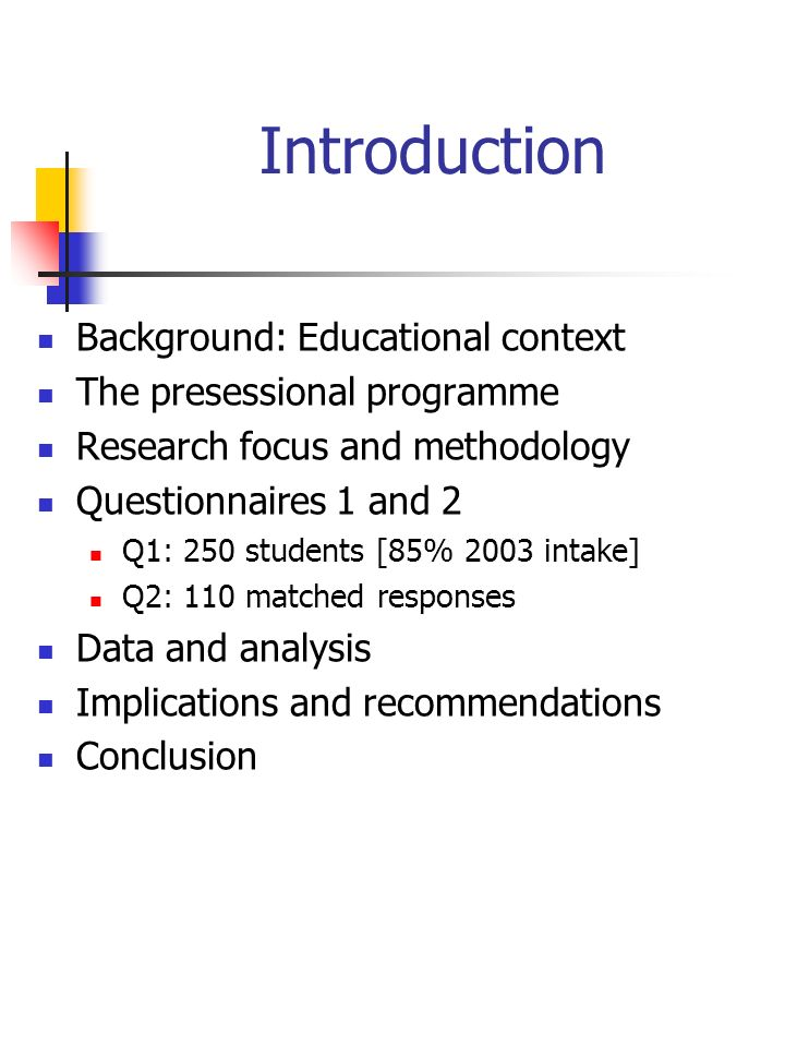Introduction Background: Educational context The presessional programme Research focus and methodology Questionnaires 1 and 2 Q1: 250 students [85% 2003 intake] Q2: 110 matched responses Data and analysis Implications and recommendations Conclusion