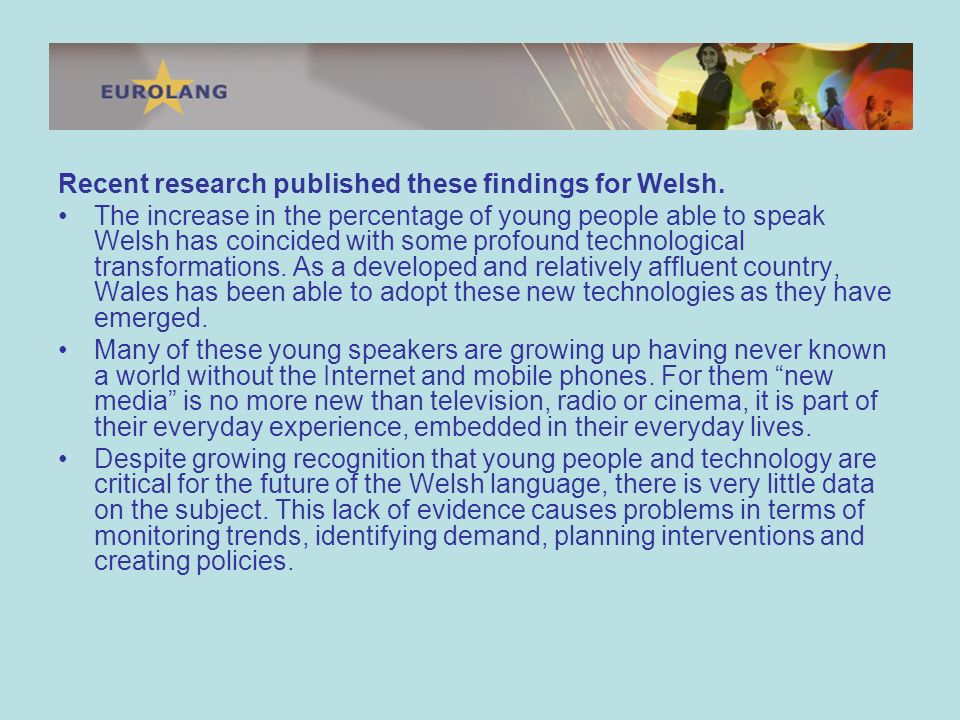 Recent research published these findings for Welsh.