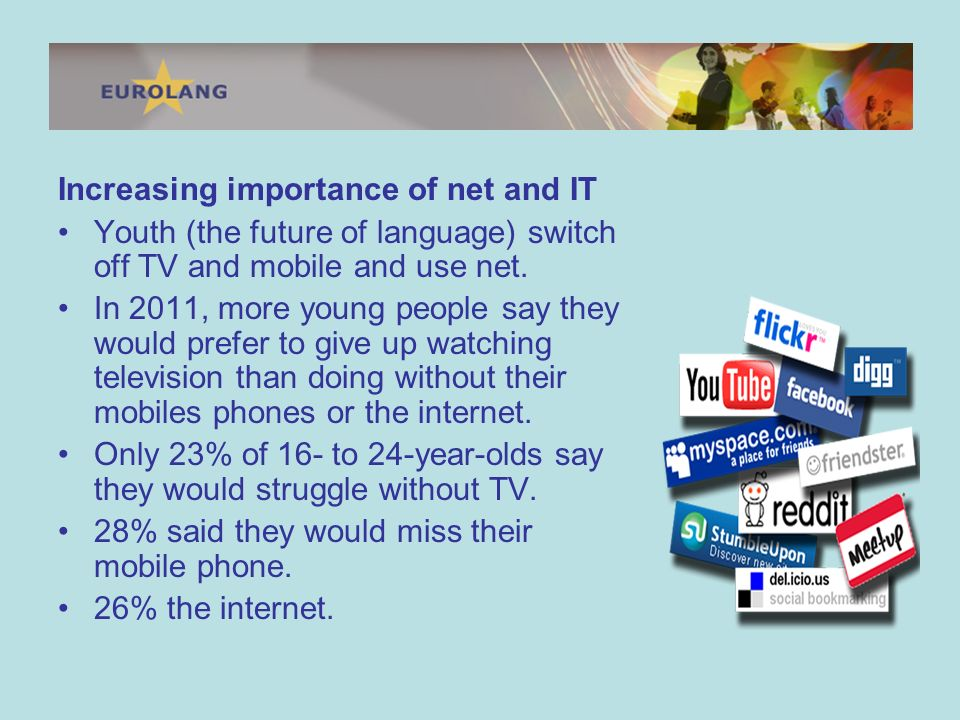 Increasing importance of net and IT Youth (the future of language) switch off TV and mobile and use net.