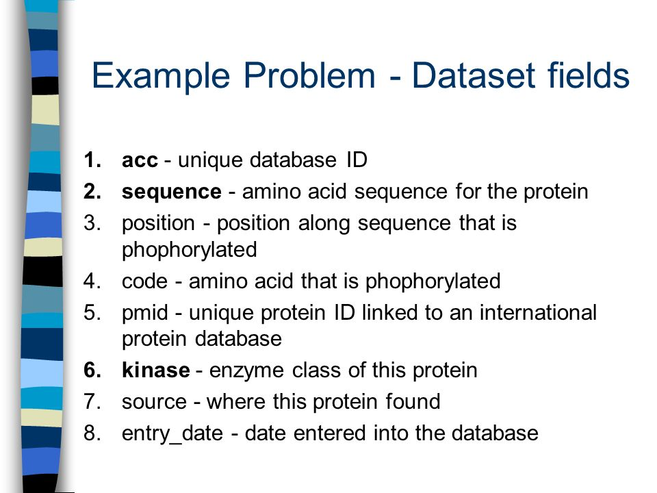 Example Problem - Dataset fields 1. acc - unique database ID 2.