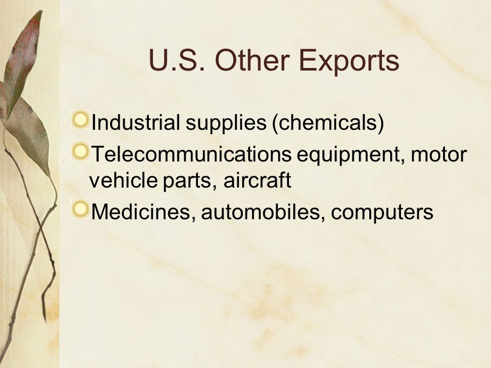 U.S. Other Exports Industrial supplies (chemicals) Telecommunications equipment, motor vehicle parts, aircraft Medicines, automobiles, computers