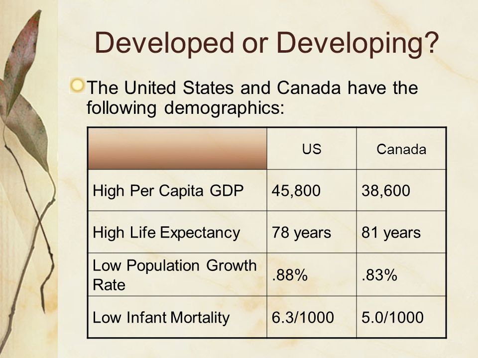 Developed or Developing? The United States and Canada have the following demographics: USCanada High Per Capita GDP45,80038,600 High Life Expectancy78