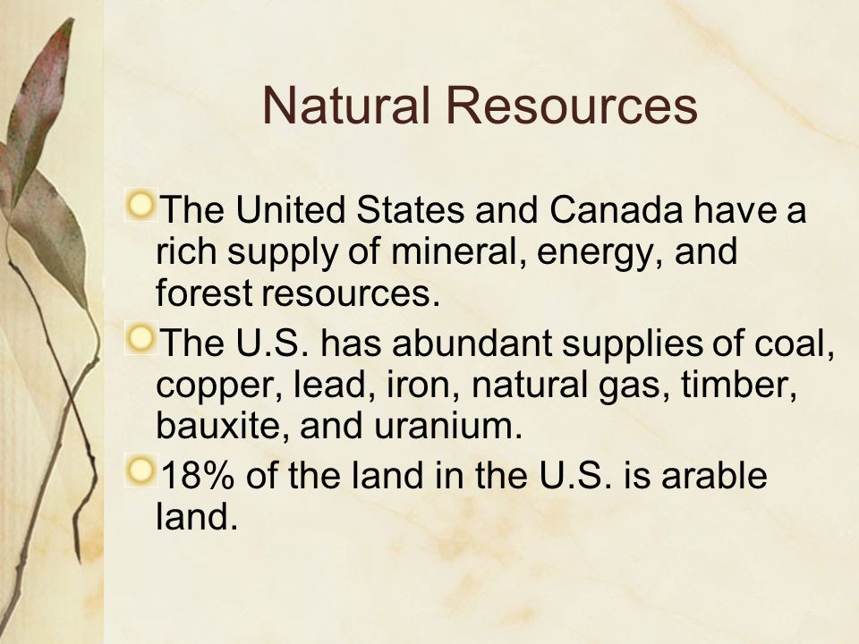 Natural Resources The United States and Canada have a rich supply of mineral, energy, and forest resources. The U.S. has abundant supplies of coal, co