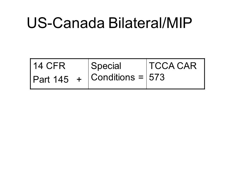US-Canada Bilateral/MIP Canadian AMO has similar requirements to work on US products Canadian AMO must have a supplement to work on US air carrier aircraft or parts.