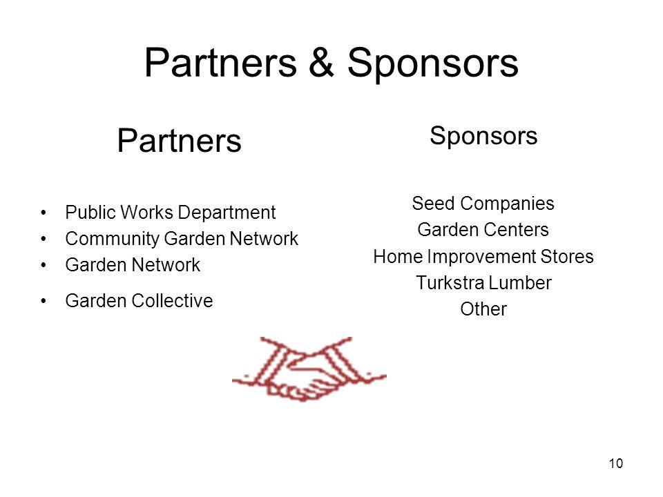 10 Partners & Sponsors Partners Public Works Department Community Garden Network Garden Network Garden Collective Sponsors Seed Companies Garden Cente