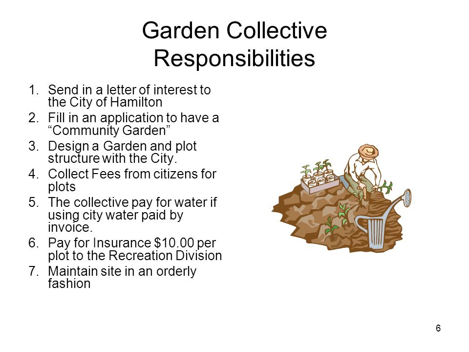 6 Garden Collective Responsibilities 1.Send in a letter of interest to the City of Hamilton 2.Fill in an application to have a Community Garden 3.Desi