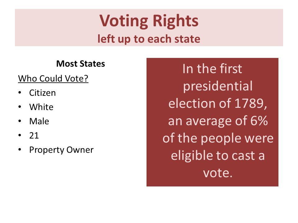 Voting Rights left up to each state Most States Who Could Vote? Citizen White Male 21 Property Owner In the first presidential election of 1789, an av