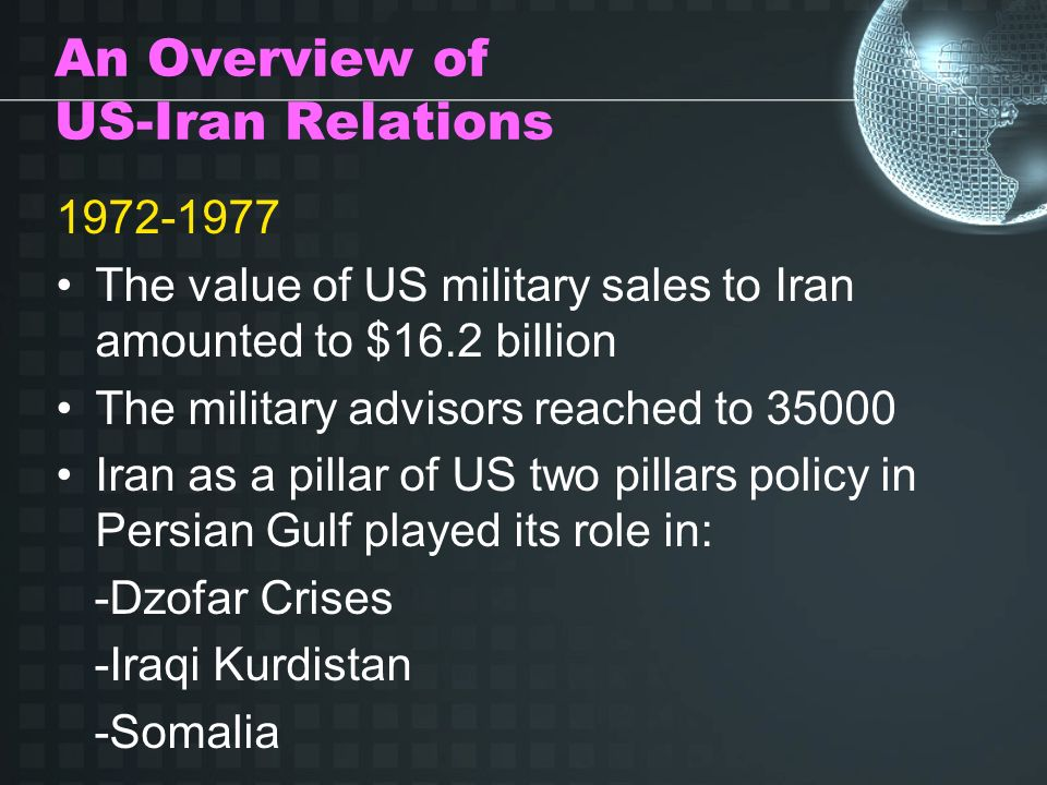 An Overview of US-Iran Relations 1972-1977 The value of US military sales to Iran amounted to $16.2 billion The military advisors reached to 35000 Iran as a pillar of US two pillars policy in Persian Gulf played its role in: -Dzofar Crises -Iraqi Kurdistan -Somalia