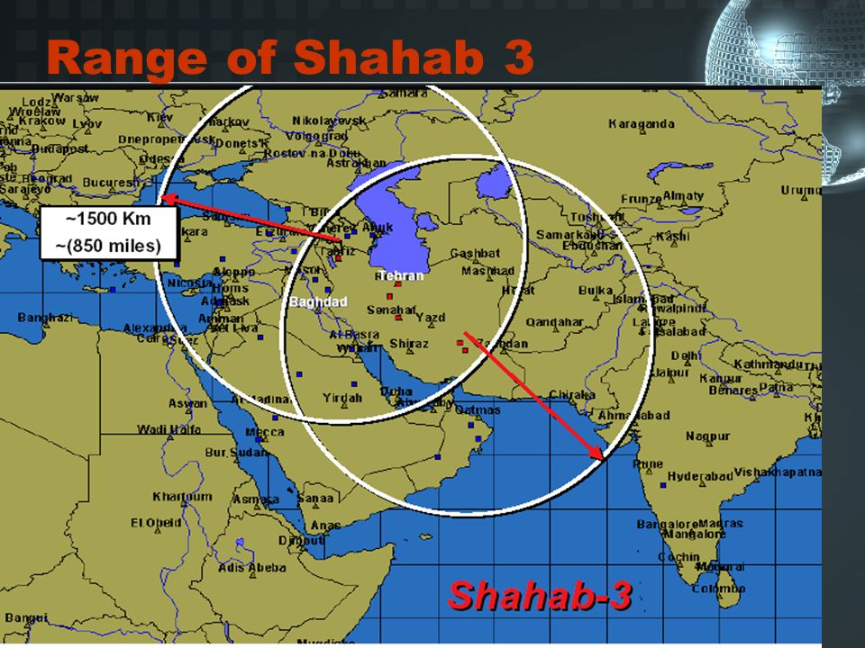 Range of Shahab 3