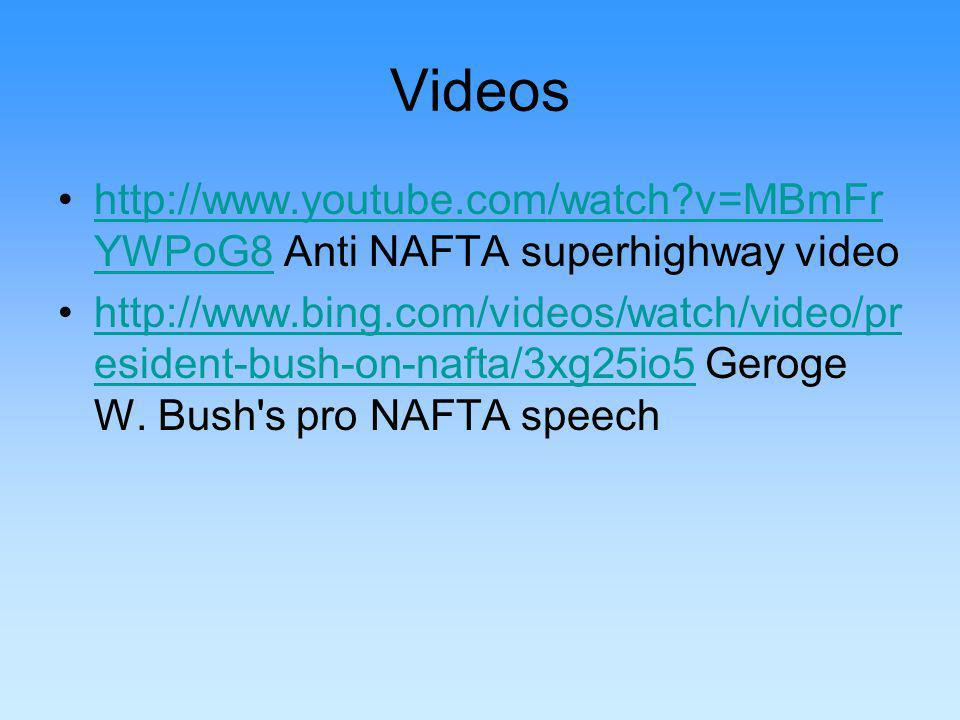 Videos http://www.youtube.com/watch v=MBmFr YWPoG8 Anti NAFTA superhighway videohttp://www.youtube.com/watch v=MBmFr YWPoG8 http://www.bing.com/videos/watch/video/pr esident-bush-on-nafta/3xg25io5 Geroge W.
