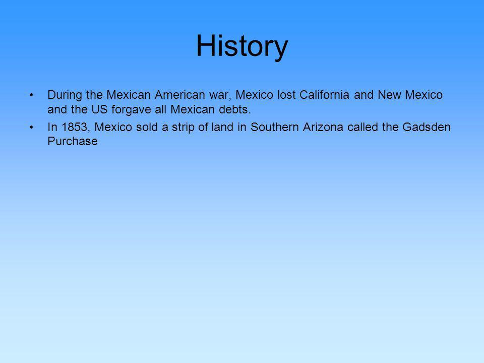 History During the Mexican American war, Mexico lost California and New Mexico and the US forgave all Mexican debts.