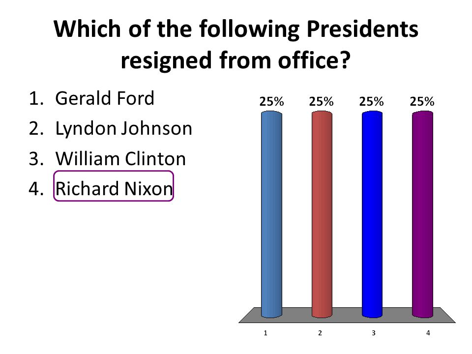 Which of the following Presidents resigned from office? 1.Gerald Ford 2.Lyndon Johnson 3.William Clinton 4.Richard Nixon