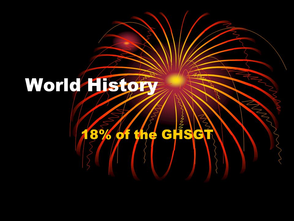 World History 18% of the GHSGT