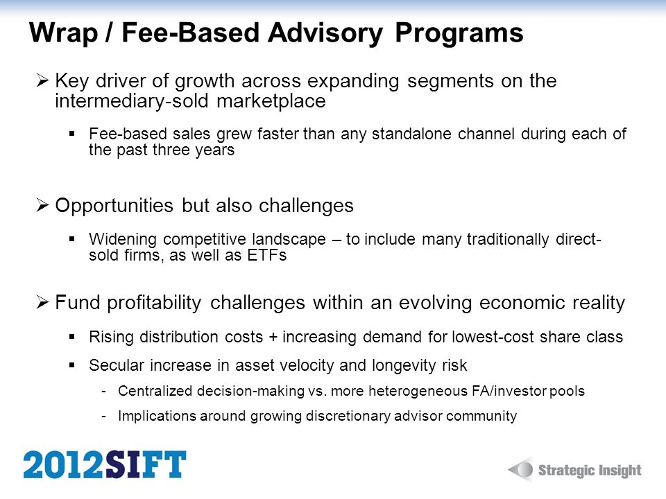 Wrap / Fee-Based Advisory Programs Key driver of growth across expanding segments on the intermediary-sold marketplace Fee-based sales grew faster than any standalone channel during each of the past three years Opportunities but also challenges Widening competitive landscape – to include many traditionally direct- sold firms, as well as ETFs Fund profitability challenges within an evolving economic reality Rising distribution costs + increasing demand for lowest-cost share class Secular increase in asset velocity and longevity risk Centralized decision-making vs.