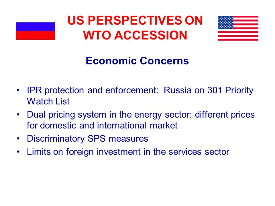 US PERSPECTIVES ON WTO ACCESSION Economic Concerns IPR protection and enforcement: Russia on 301 Priority Watch List Dual pricing system in the energy
