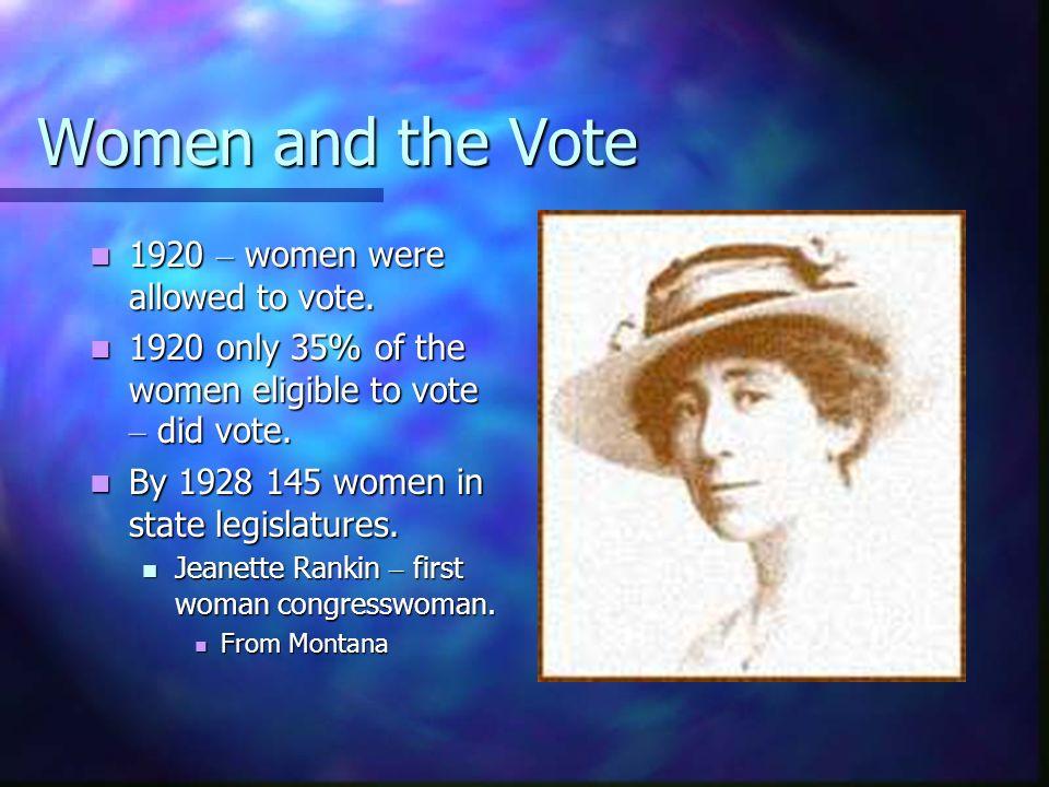 Women and the Vote 1920 – women were allowed to vote. 1920 – women were allowed to vote. 1920 only 35% of the women eligible to vote – did vote. 1920