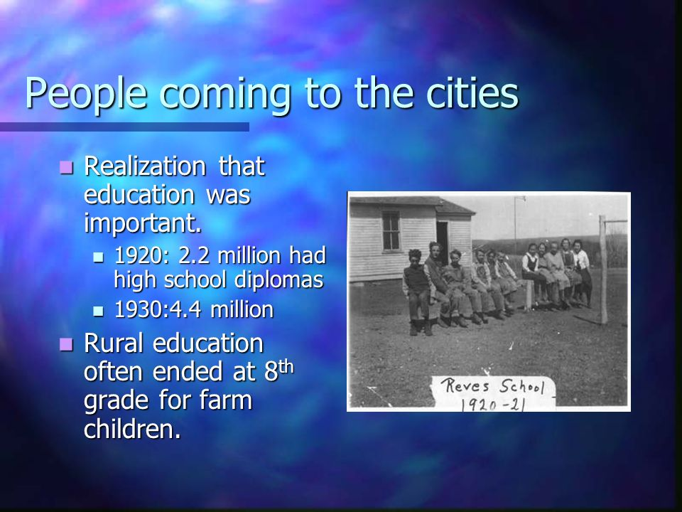People coming to the cities Realization that education was important. Realization that education was important. 1920: 2.2 million had high school dipl