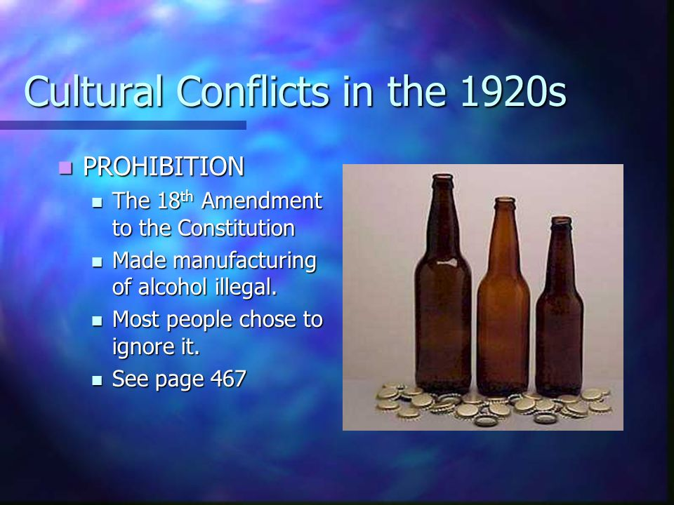 Cultural Conflicts in the 1920s PROHIBITION PROHIBITION The 18 th Amendment to the Constitution The 18 th Amendment to the Constitution Made manufactu