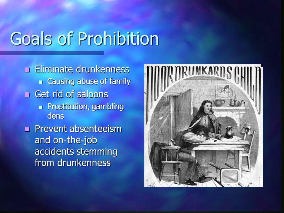 Goals of Prohibition Eliminate drunkenness Eliminate drunkenness Causing abuse of family Causing abuse of family Get rid of saloons Get rid of saloons