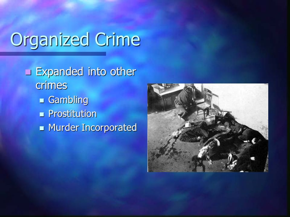 Organized Crime Expanded into other crimes Expanded into other crimes Gambling Gambling Prostitution Prostitution Murder Incorporated Murder Incorpora