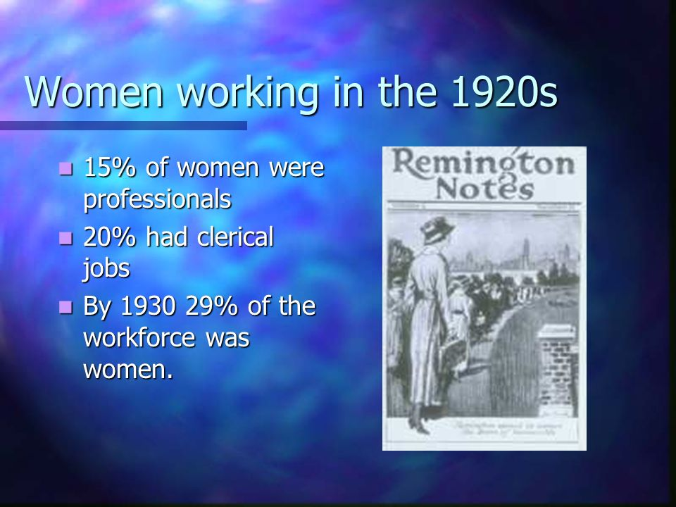 Women working in the 1920s BUT BUT Business was prejudiced against women.