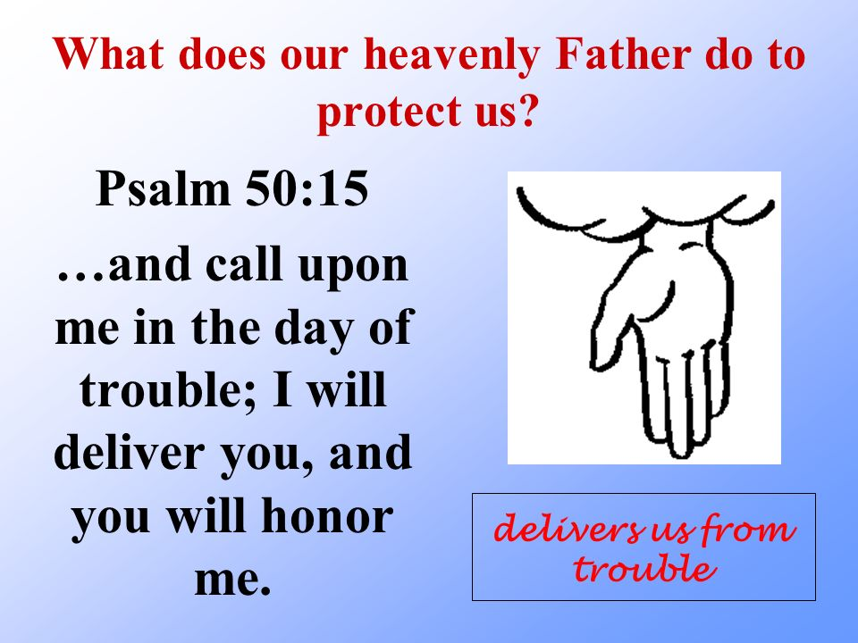 What does our heavenly Father do to protect us? Psalm 50:15 …and call upon me in the day of trouble; I will deliver you, and you will honor me. delive