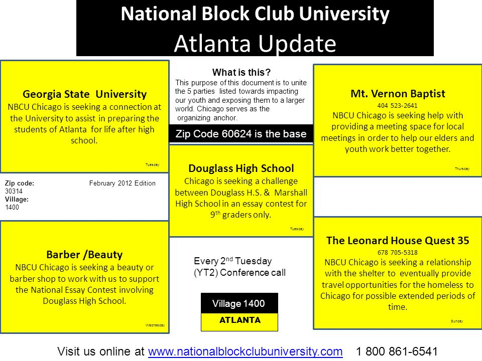 National Block Club University Atlanta Update Georgia State University NBCU Chicago is seeking a connection at the University to assist in preparing t