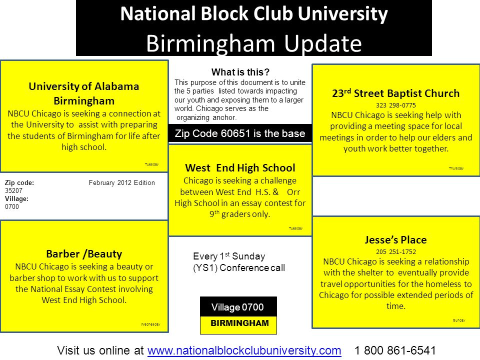 National Block Club University Birmingham Update University of Alabama Birmingham NBCU Chicago is seeking a connection at the University to assist wit