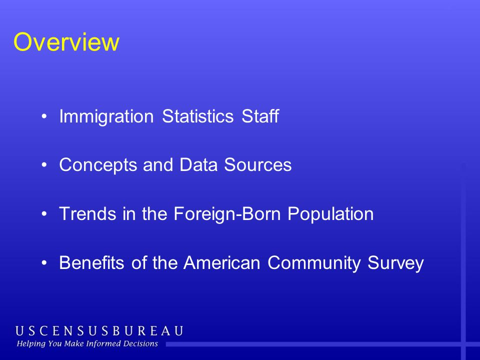 Overview Immigration Statistics Staff Concepts and Data Sources Trends in the Foreign-Born Population Benefits of the American Community Survey