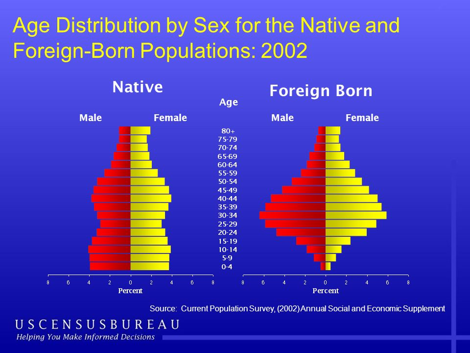 Age Distribution by Sex for the Native and Foreign-Born Populations: 2002 Source: Current Population Survey, (2002) Annual Social and Economic Supplem