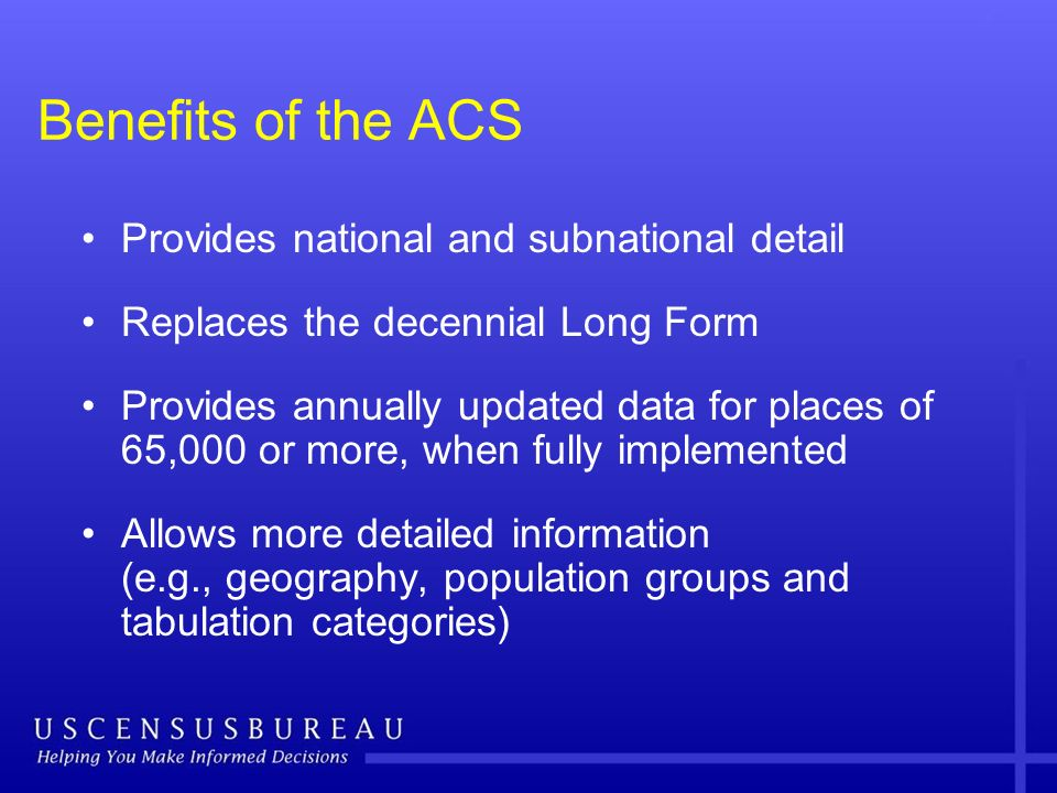 Benefits of the ACS Provides national and subnational detail Replaces the decennial Long Form Provides annually updated data for places of 65,000 or m