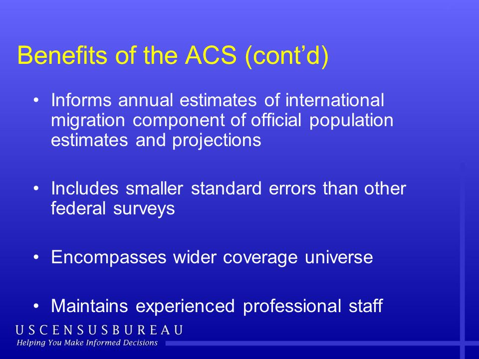 Benefits of the ACS (contd) Informs annual estimates of international migration component of official population estimates and projections Includes sm