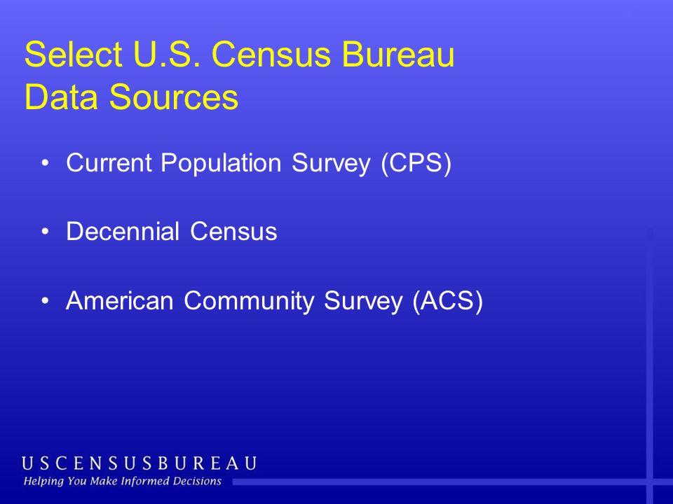 Select U.S. Census Bureau Data Sources Current Population Survey (CPS) Decennial Census American Community Survey (ACS)