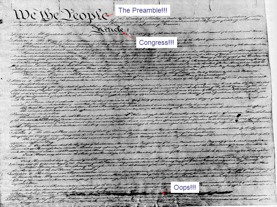 The Preamble!!!Congress!!! Oops!!!