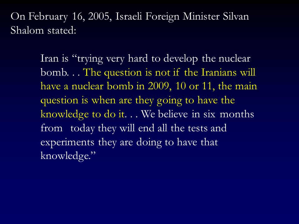 On February 2, 2005, in his State of the Union Address, Bush stated: Today, Iran remains the worlds primary state sponsor of terror – pursuing nuclear