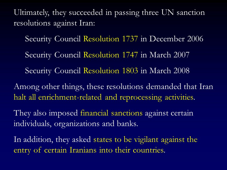 What the US and Israel tried to do was to repeat the Iraqi scenario, that is Pass severe UN economic sanctions against Iran. Wreck the Iranian economy