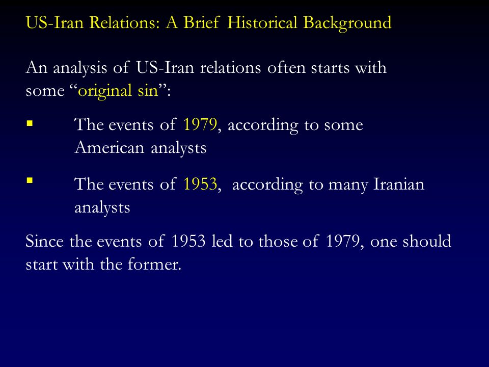 This presentation is based partly on my book: The United States and Iran Sanctions, Wars and the Policy of Dual Containment http://www.routledgepoliti