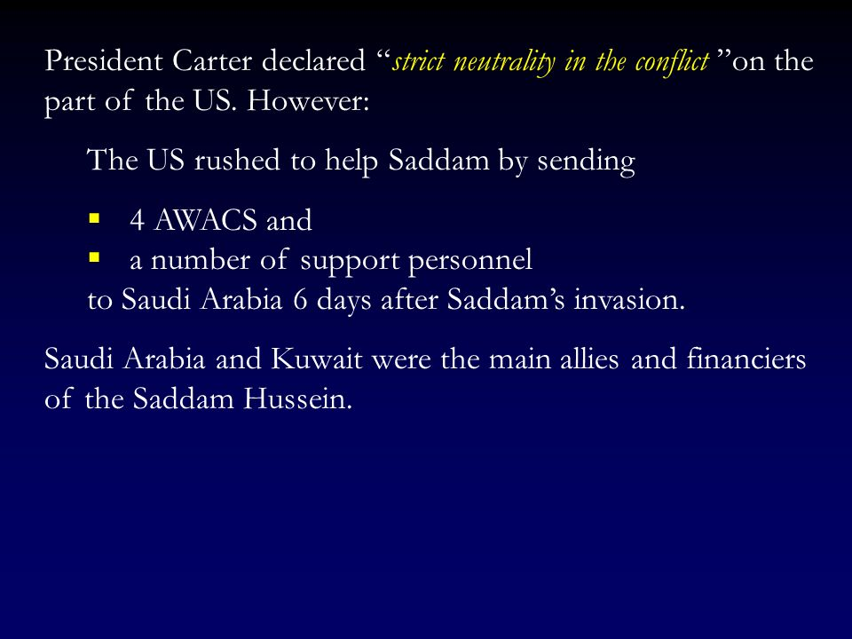 After starting border skirmishes with Iran, on September 23, Saddam attacked 10 Iranian airfields. The war was on!