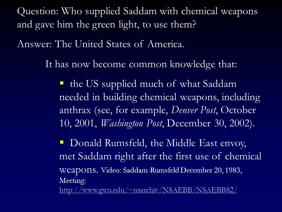 In late 1983 Saddam, unable to win the war, started to use chemical weapons against the Iranians and, later on, against Iraqs own Kurdish population.
