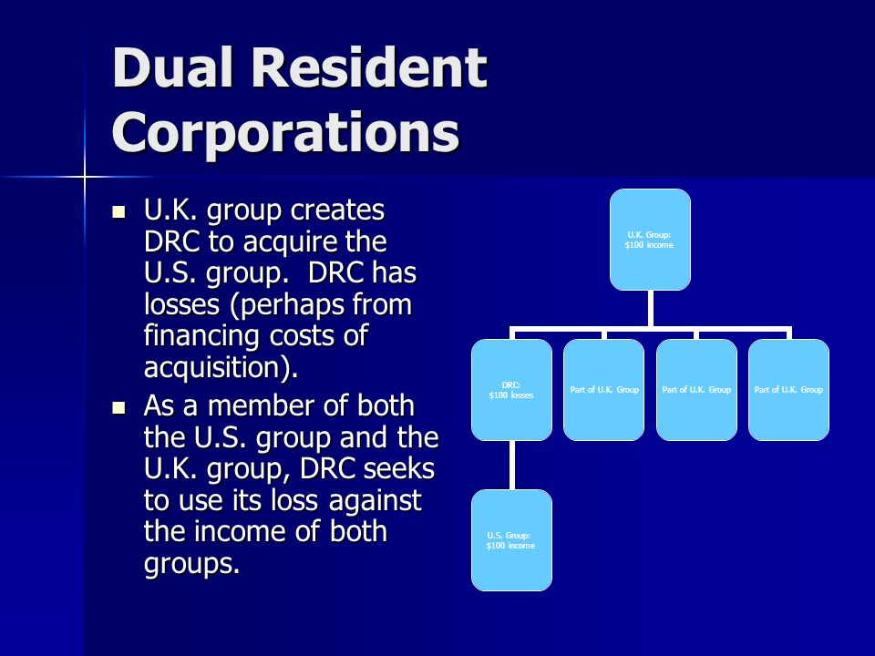 Dual Resident Corporations U.K. group creates DRC to acquire the U.S.