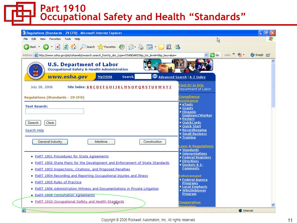 11 Copyright © 2006 Rockwell Automation, Inc. All rights reserved. Part 1910 Occupational Safety and Health Standards