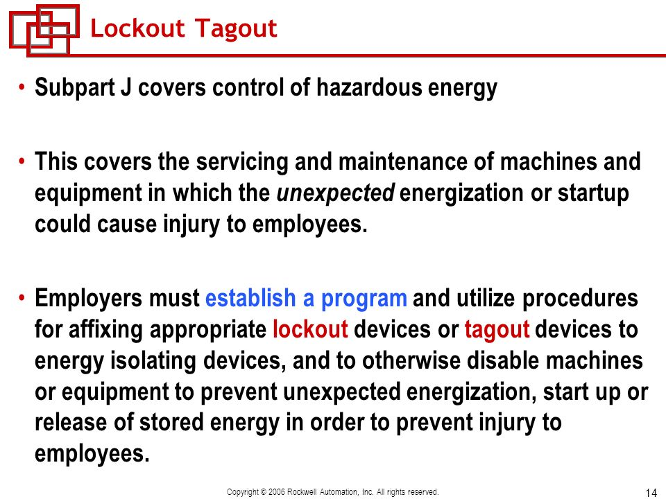 14 Copyright © 2006 Rockwell Automation, Inc. All rights reserved. Lockout Tagout Subpart J covers control of hazardous energy This covers the servici