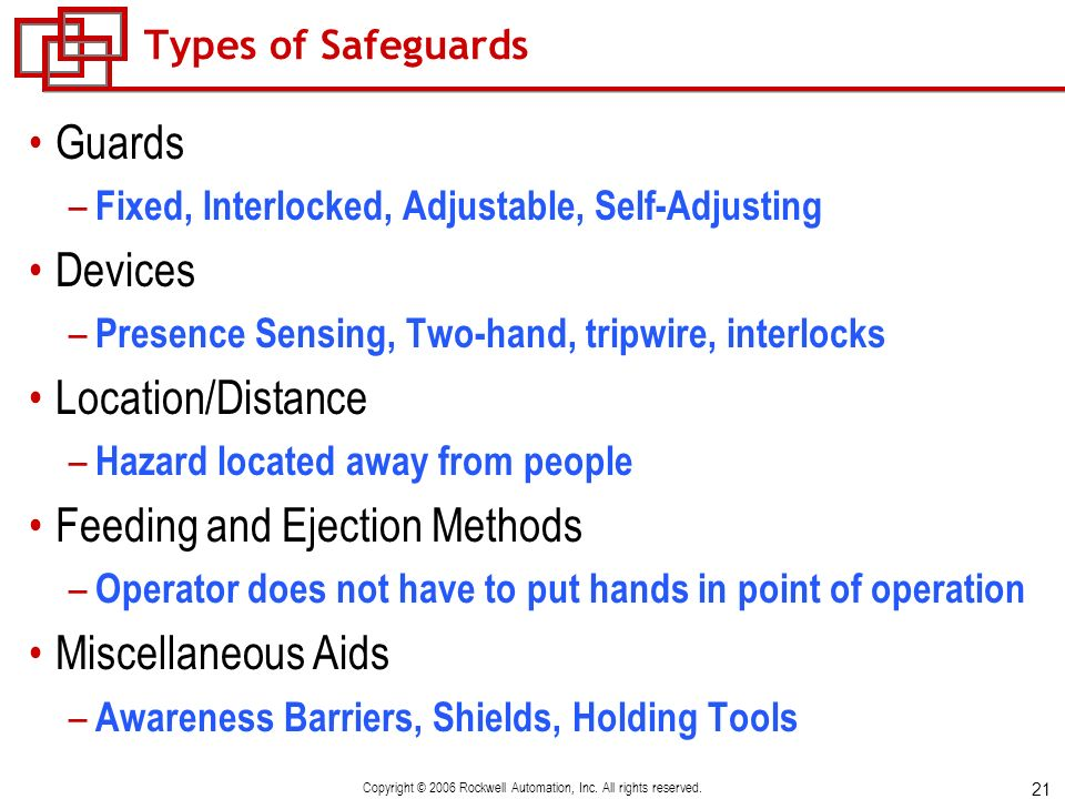 21 Copyright © 2006 Rockwell Automation, Inc. All rights reserved. Types of Safeguards Guards – Fixed, Interlocked, Adjustable, Self-Adjusting Devices