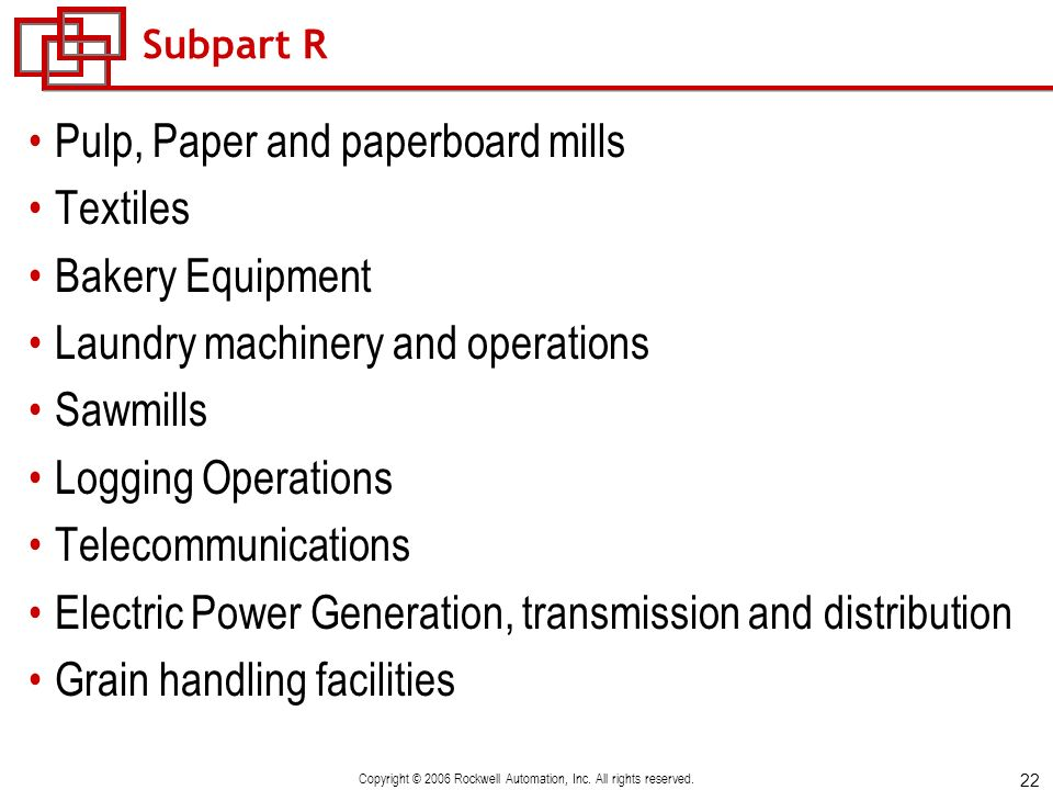 22 Copyright © 2006 Rockwell Automation, Inc. All rights reserved. Subpart R Pulp, Paper and paperboard mills Textiles Bakery Equipment Laundry machin
