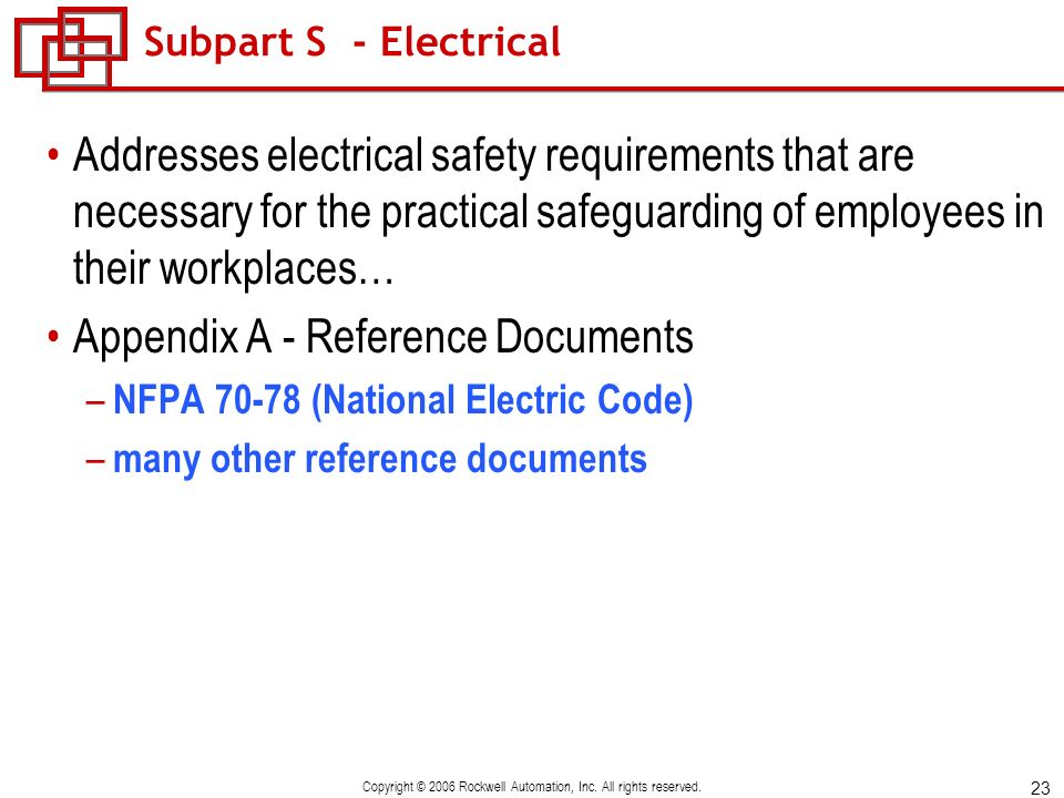 23 Copyright © 2006 Rockwell Automation, Inc. All rights reserved. Subpart S - Electrical Addresses electrical safety requirements that are necessary