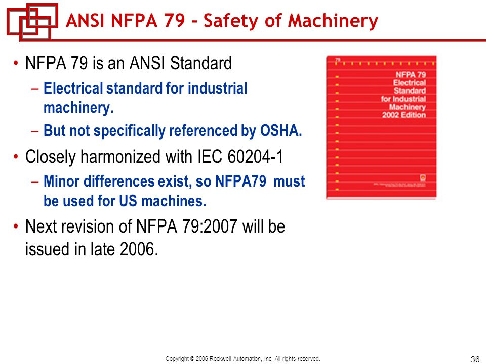36 Copyright © 2006 Rockwell Automation, Inc. All rights reserved. ANSI NFPA 79 - Safety of Machinery NFPA 79 is an ANSI Standard – Electrical standar