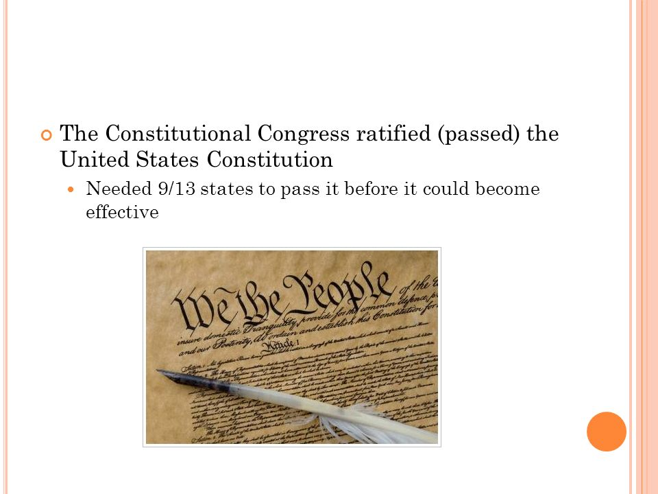 The Constitutional Congress ratified (passed) the United States Constitution Needed 9/13 states to pass it before it could become effective